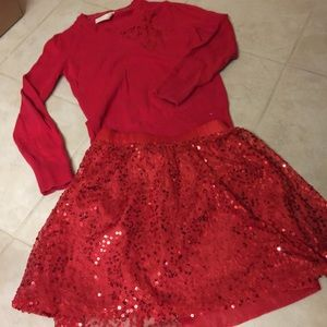 Valentines Red sequin full layered skirt M  8 10